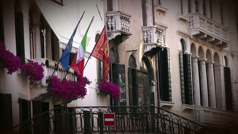 Venice. Building and flags Footage