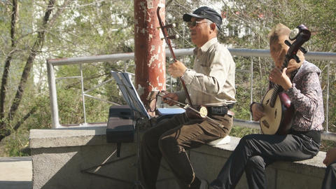 Chinese Musicians In Spring Park Stock Video Footage