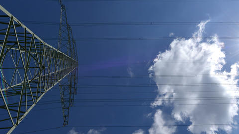 10877 electricity pylon time lapse zoom Stock Video Footage