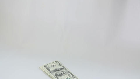 Man counting american dollars on white background Stock Video Footage