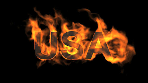 flame USA word Animation