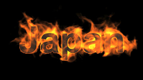 flame Japan word Animation