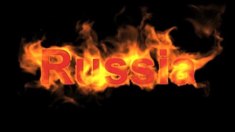 flame Russia word Stock Video Footage
