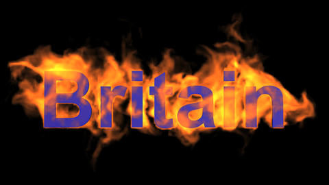 flame Britain word Stock Video Footage