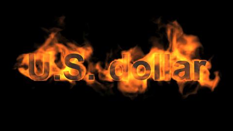 fire U.S. dollar text Animation