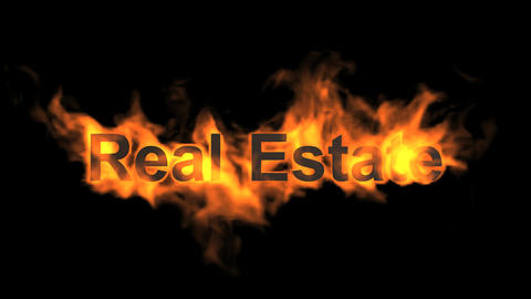flame real estate word Stock Video Footage