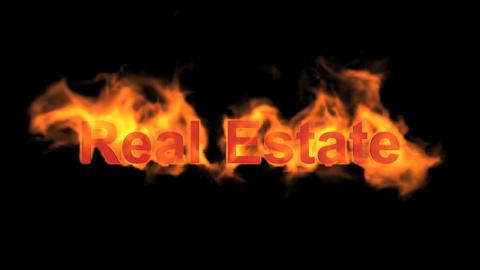 flame real estate word Animation