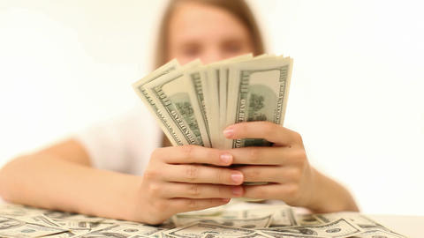 Money, Lots Of Hundred Dollar Bills stock footage