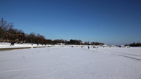 Walking on the frozen sea 9 Stock Video Footage