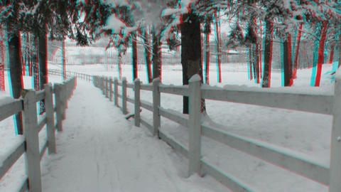 Fences around horse paddock in winter 2ana Footage