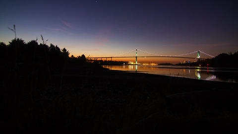 Time Lapse morning of Lion Gate Bridge in Downtown Stock Video Footage