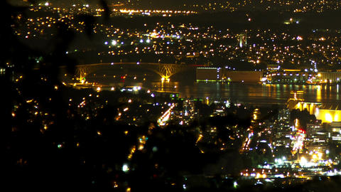3 shots time lapse night view of Vancouver and Cit Footage