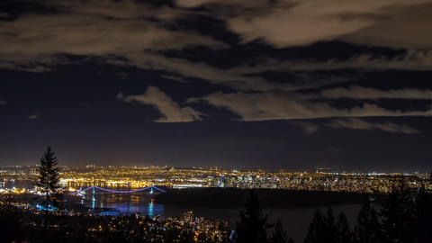 Time Lapse Night view of Greater Vancouver Footage