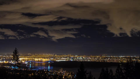 Time Lapse Night view of Greater Vancouver Stock Video Footage