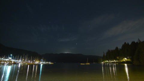 Moon RIsing at Deep Cove, North Vancouver, BC, Can Stock Video Footage