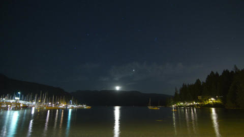 Moon RIsing at Deep Cove, North Vancouver, BC, Can Footage