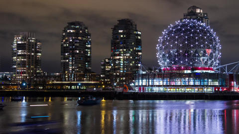Time Lapse of Science World in Downtown Vancouver Stock Video Footage