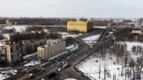 traffic shot with tilt shift effect Footage