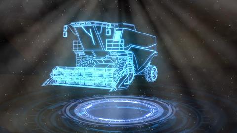 Neon harvester rotates, cg industrial 3D animation Animation