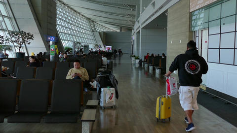 Travelers People Tourists Waiting In Passenger Terminal Incheon Airport Seoul Footage