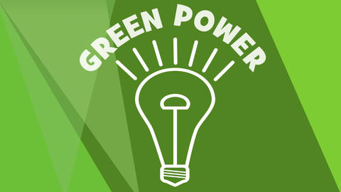 Green power video advertisement, intro. Animated bulb flickering on green backgr Animation