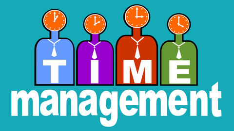 Time management, stylized people silhouettes with clock face in head, headline v Animation