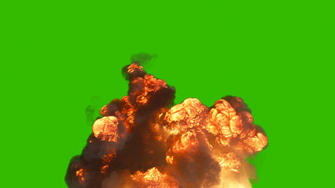 A powerful explosion with a lot of smoke. A huge explosion with thick smoke. Explosion with smoke in Animation