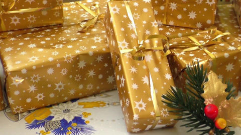 Wrapped christmas presents Footage