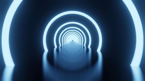 Dark Futuristic Sci Fi Room dark with lights and circle neon light Animation