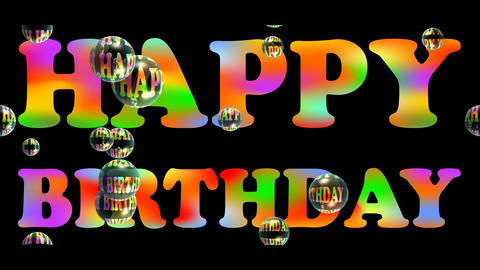 Happy birhtday banner with colorful rainbow headline and floating soap bubbles o Animation