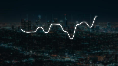 Double screen exposure, statistical chart graph lines reflection urban city Infographic on screen Animation