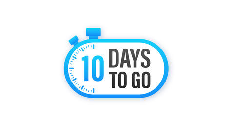 10 Days to go. Countdown timer. Clock icon. Time icon. Count time sale. stock Animation