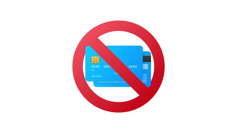 Cash only, Stop sign. No debit or credit card. Money sign. Motion graphics Animation