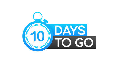 10 Days to go. Countdown timer. Clock icon. Time icon. Count time sale. Motion Animation
