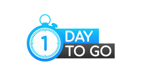 1 Days to go. Countdown timer. Clock icon. Time icon. Count time sale. Motion Animation