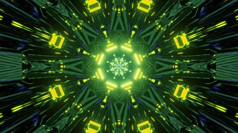 Shiny geometric neon illumination with motion effect 3d illustration Animation