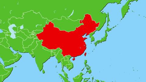 中国(台湾含む)の位置がアップになって赤く表示されます。ヨーロッパ中心地図 CG動画