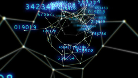 Beautiful Flight Through the Digital Tunnel with Numbers. Lines and Points. Abst Animation