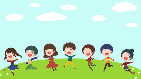 Background material with moving illustrations of children in the meadow background Animation