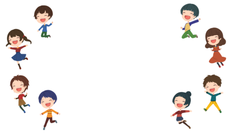Transparent background material with eight children shaking Animation