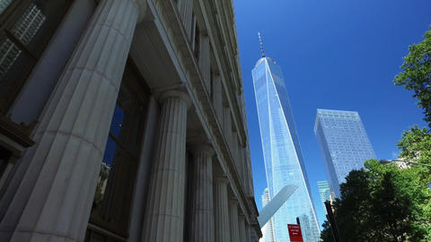 View of the freedom tower Manhattan financial district Live Action