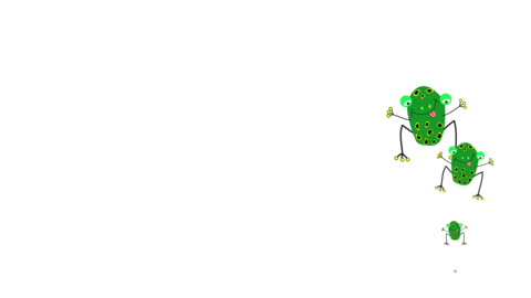 Little frog cartoon character on a white and blank background Animation