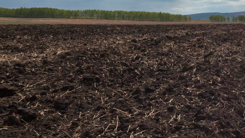Plowed Field, Motion Controlled Dolly, Time Lapse stock footage