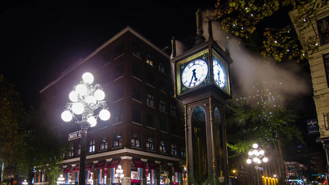 Close up shot of the Stream Clock on Water Street Stock Video Footage