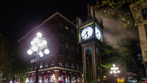 Close up shot of the Stream Clock on Water Street Footage
