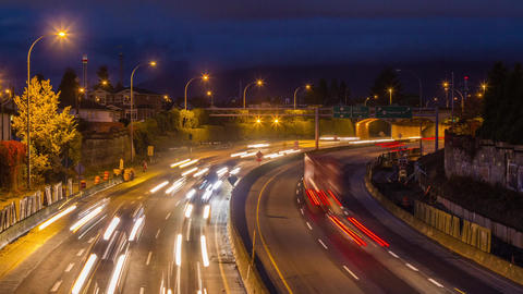 High Impact Busy Traffic Of Highway #1 In Vancouve stock footage
