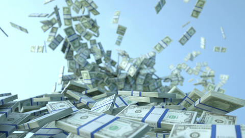 US dollar bundles slow motion flow and blue sky. Alpha matte Stock Video Footage