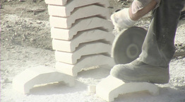 Grinder, bricklayer cutting a brick Footage
