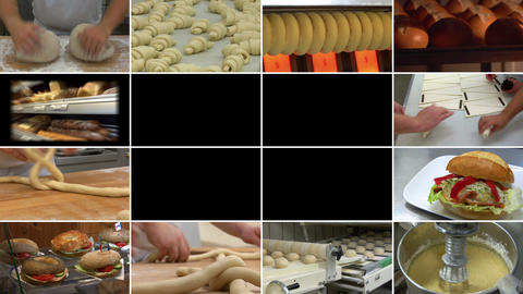 10880 bakery bread montage animated on black Stock Video Footage