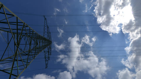 4k UHD electricity pylon time lapse dolly move 10882 Stock Video Footage